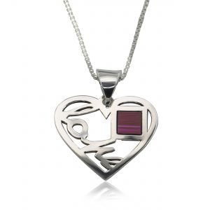 Love Heart Pendant with Nano Bible Necklace