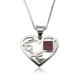 Love Heart Pendant with Jerusalem Nano Bible Necklace New Testament